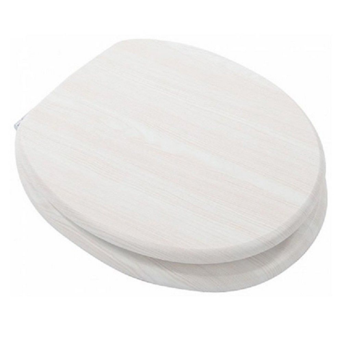 Mdf White Ash Wood Toilet Seat With Chrome Plated Hinges